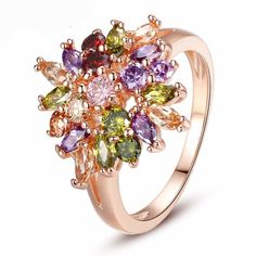 Rose Gold Color Flower Finger Ring AAA Multicolor Cubic Zircon Wedding Jewelry