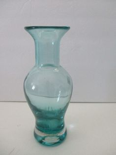 Blenko Glass Vase 9.25 Inches Tall Blue Green Circa 1950s Original Sticker Tag