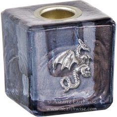 DRAGON BLACK GLASS SPELL CANDLE HOLDER Wicca Pagan Witch Goth Ritual Altar