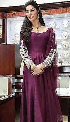 Festival Designer Burgandy Jacquard Satin Anarkali Dresses, Dress