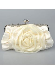 Ivory Satin Wedding Handbag With Chain Strap And Hand Made Flowers For Wedding Party