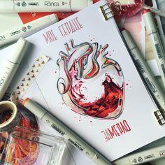 Ну и конечно #illustration #drawing #sketchbook #sketch#doodleandsketch #sketchmarker #sketchmarkersclub #touchmarkers #heart#wine