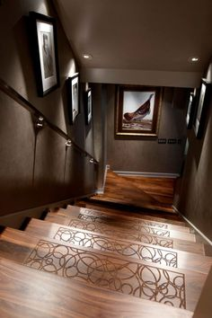 Contemporary Staircase with Distinctive Wood Designs Inc. Solid Wood Stair Treads & Custom Millwork, Hardwood floors
