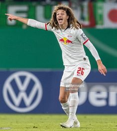 Ethan Ampadu of RB Leipzig gestures during the DFB Cup second round match between VfL Wolfsburg and RB Leipzig at Volkswagen Arena on October 2019 in Wolfsburg, Germany. Get premium, high resolution news photos at Getty Images World Football, Football Players, Training Materials, Video Site, Documentaries, Volkswagen, News, Soccer, Vfl Wolfsburg