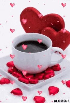 Morning messages, morning greeting, morning quotes, tea gif, good morning h Coffee Gif, Coffee Images, My Coffee, Good Morning Coffee, Good Morning Good Night, Valentines Flowers, Be My Valentine, Gif Café, Tea Gif