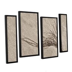 ArtWall 'Cora Niele's Beach Find I' 4-piece Floater Framed Staggered Set