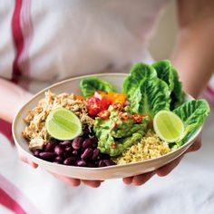 Chicken carnitas and cauli-rice burrito bowl - MyKitchen Avocado Baby, Cauli Rice, Baby Tomatoes, Chicken Burrito Bowl, Carnitas, Roasting Pan, Burritos, Poultry, Cobb Salad