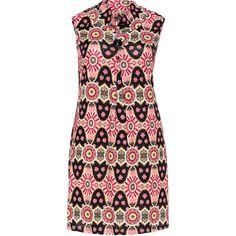 Samya Pink / Black Plus Size Printed collar dress ($49) ❤ liked on Polyvore featuring dresses, pink, plus size, women's plus size dresses, pleated dress, stretch dress, pink collared dress and plus size sleeveless dresses