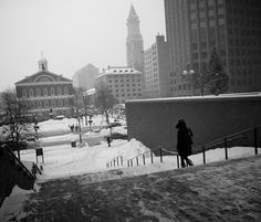 """""""Lonely Lunchtime Snow Walk.""""  Shot during a February 2011 weekday snowstorm when fewer folks than normal were out and about downtown. during the lunch hour"""