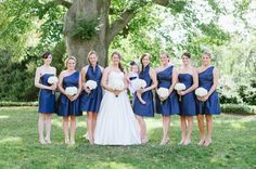 navy bridesmaid dresses, photo by Natalie Franke Photography
