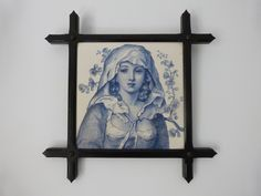 Antique French religious wooden frame w blue white tile of Holy Virgin Mary our lady of Lourdes Holy Mother icon, catholic christian gift