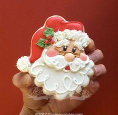 Decorated Santa Cookies For Christmas - Kekse Ideen Santa Cookies, Christmas Sugar Cookies, Iced Cookies, Cute Cookies, Christmas Sweets, Noel Christmas, Christmas Goodies, Cookies Et Biscuits, Holiday Cookies