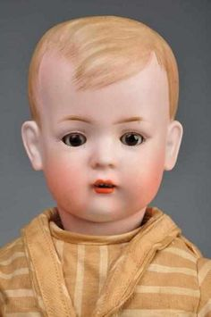 "German Bisque Character Boy ""Tommy Tucker"". Bisque socket head incised BSW in heart, 2096, made by Bruno Schmidt."