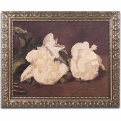 Trademark Fine Art Branch of White Peonies Canvas Art by Edouard Manet, Gold Ornate Frame, Size: 11 x 14 Painting Frames, Painting Prints, Framed Art, Framed Prints, White Peonies, New Wall, Metal Wall Art, Art Reproductions, Graphic Art