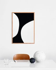 graphic black and white art in wood frame / sfgirlbybay