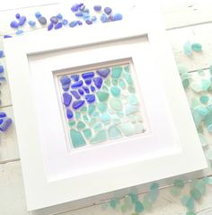 New treasure frame available in shop! It's filled with genuine sea glass (not a print). Every treasure frame comes with a complimentary print valued at $20. Sea Glass Beach, Sea Glass Art, Sea Glass Jewelry, Mosaic Glass, Beach Keepsakes, Broken Bottle, Creative Area, Beach Art, Beach Pics