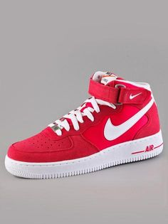 Nike Air Force 1 Mid '07 Fusion Red White #Nike #AirForce #Sneaker