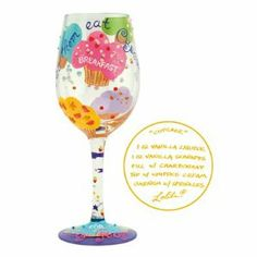 "Lolita Wine Glass Cupcake Wine Glass by Wine Glass. $28.00. Lolita Wine Glass Cupcake Wine Glass. ""Let Them Eat Cupcakes"" Wine Glass  by Tracey Lolita Yancey Discover the most unique wine glasses around! These wine glasses create instant conversation (over drinks of course!). Tracey uses wine cooler recipes as her design inspiration for each glass; each wine glass has a trademark 'recipe on the bottom' (pictured above). This one even has 'sprinkle' just like your favorite cupcake..."