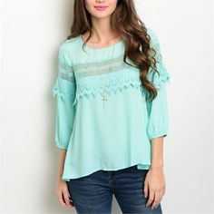 Beautiful mint crochet hi lo blouse! Stunning spring/summer color- intricate crochet detail around garment- 3qtr princess sleeves! Lovely! Tops Blouses