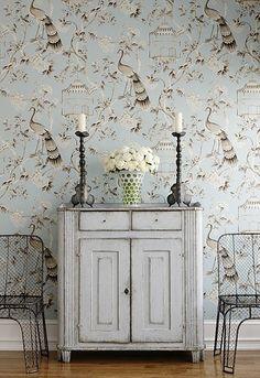 Schumacher Wallpaper Oiseaux et Fleurs Mineral