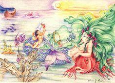 Iara - Lenda Brasileira - Brazilian Folk Tale - Sereia - Mermaid ( Lápis de cor - Colored pencil )