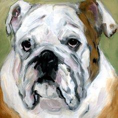 original contemporary modern acrylic painting Old English Bulldog portrait