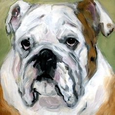 original contemporary modern acrylic painting Old English Bulldog portrait