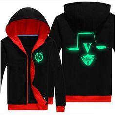 V for Vendetta fleece hoodie for men plus size luminous black sweatshirt