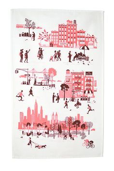 Manhattan tea towel in brownstone/pink, $16, from famillesummerbelle.com