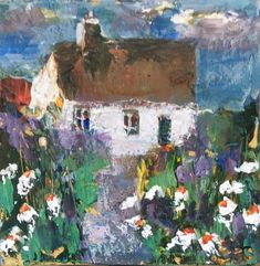 """""""A LITTLE IRISH COTTAGE"""" by Roma Mountjoy. Acrylic painting on Canvas, Subject: Landscapes, sea and sky, Naive style, One of a kind artwork, Signed on the front, Ready to hang, Size: 10.16 x 10.16 x 1.78 cm (unframed), 4 x 4 x 0.7 in (unframed), Materials: Acrylics"""