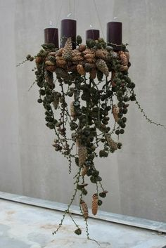 ▷ Advent wreath ideas and pictures for your Christmas decoration - Hanging advent wreath – such a extraordinary idea /// Hanging advent sick – great extraordinary - Natural Christmas, Nordic Christmas, Noel Christmas, Rustic Christmas, Winter Christmas, Christmas Wreaths, Christmas Crafts, Advent Wreaths, Natal Natural
