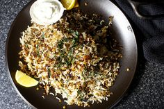 stuck-pot rice with lentils and yogurt (easy to veganize--just use vegan yogurt in place of a dairy one)