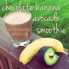 Chocolate Banana Avocado Smoothie Recipe - Only 147 calories and less than 9 grams fat - uses almond milk