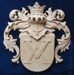 Woodcarving and ornaments in wood for interiors and furniture .Reproduction and period furniture of liege style furniture . Stone Carving, Wood Carving, Marble Carving, Grisaille, Carving Designs, Family Crest, Crests, Coat Of Arms, Wood Art