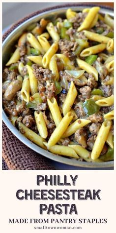 A quick and easy dinner recipe for the family to enjoy Philly Cheesesteak Pasta is packed with ground beef green peppers mushrooms and creamy provolone cheese It is a filling comfort food made from ingredients you probably have on hand Save this pin Steak Pasta, Pasta Penne, Chicken Pasta, Quick Family Dinners, Dinner Recipes Easy Quick, Quick Easy Meals, Quick Family Recipes, Quick Food Recipes, Easy Meals For Dinner