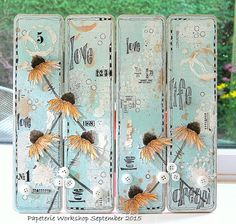 Canvas Panels---stencils, gesso, distress inks, texture/embossing paste