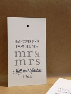 Welcome Tag / Weekend Basket / Wedding / Favor / Thank you / Reception / Hangover Fixes / Custom / Funny Tag by Darby Cards. $0.65, via Etsy.