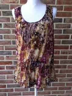 DAISY FUENTES Purple Yellow Watercolor Boho Peasant Sleeveless Blouse Shirt LG  #DaisyFuentes #Blouse #Casual