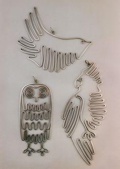 "Pendants | Ahlene Welsh.  ""Wire birds"".   Sterling silver. - love these"