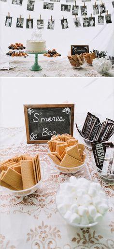 diy smores bar   dessert table ideas   pastel garden wedding   #weddingchicks