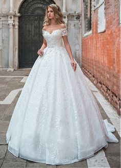 Buy discount Modest Lace Off-the-shoulder Neckline Ball Gown Wedding Dress With 3D Lace Appliques & Beadings & Belt at Dressilyme.com