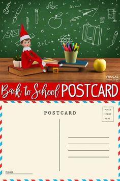 Back to School Elf on the Shelf Postcard - DIY & Crafts - Elf on the shelf ideas Christmas Activities, Christmas Traditions, The Elf, Elf On The Shelf, Letter Explaining Santa, Santa Letter, Free Postcards, Back To School Crafts, Charlie Brown Christmas