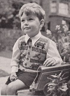 1940 s Baby Childrens Boys 22  Waistcoat -  Planes & Trains  To Knit
