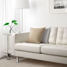 IKEA LANDSKRONA three-seat sofa Removable armrests make it easy to add on a chaise longue. Best Leather Sofa, Modern Leather Sofa, Leather Sofas, Landskrona Sofa, Sofa Deals, 54 Kg, Couch Set, Sofa Frame, White Wood
