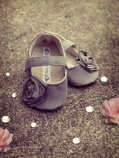 Baby Shoes Soft Soled Grey Butter Size 17 by BitsyBlossom on Etsy, $25.00