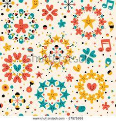 Fun Cartoon Seamless Pattern Stock Vector 87576991 : Shutterstock