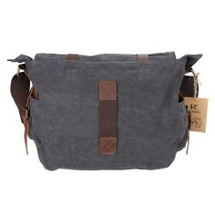c935d282a129 Kattee British Style Retro Mens Canvas + Leather Messenger Traval Shoulder  Bag Fits 15 Inch Laptop (Dark Gray)  Amazon.co.uk  Clothing
