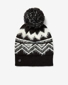 59a0d3f151a Metallic Fair Isle Feather Pom Beanie
