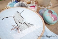 Bunny cross stitch, pattern by Belle and Boo