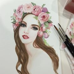 """Páči sa mi to: 170, komentáre: 20 – Patricia Alix-Villa (@patfancygirl) na Instagrame: """"#tbt to when I used to like painting faces. It's been so long! #watercolor #painting #floral…"""""""